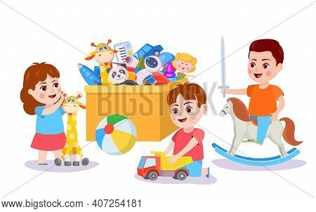 Kid Playing With Toys. Children And Box With Toy Cars, Blocks And Bear. Boy Play Pretending On Rocki