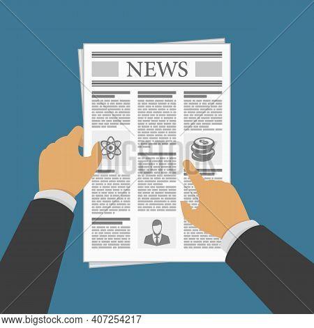Business Man Hands Holding Newspaper. Man Reading A Newspaper News. Vector Illustration In Flat Desi