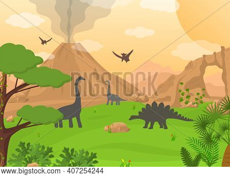 Cartoon Color Dinosaurs And Landscape Scene Concept Flat Design Style. Vector Illustration Of Wild N