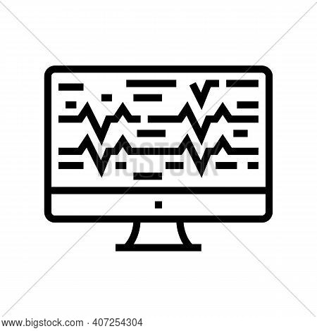Noise Waves On Computer Screen Line Icon Vector. Noise Waves On Computer Screen Sign. Isolated Conto