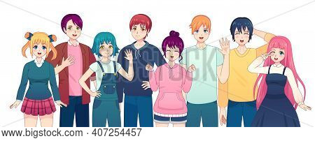 Group Of Anime Characters. Young Manga Girls And Boys Friends In Japanese Comic Style. Smiling Korea