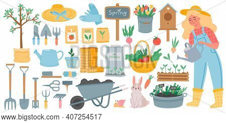 Gardening Tools. Spring Garden Equipment - Hoe, Fork, Shovel And Rake, Wheelbarrow And Seeds. Woman