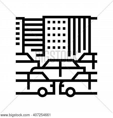 City Traffic Jam Line Icon Vector. City Traffic Jam Sign. Isolated Contour Symbol Black Illustration
