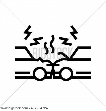 Cars Accident Line Icon Vector. Cars Accident Sign. Isolated Contour Symbol Black Illustration