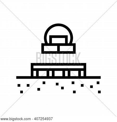 Columnar Foundation Line Icon Vector. Columnar Foundation Sign. Isolated Contour Symbol Black Illust