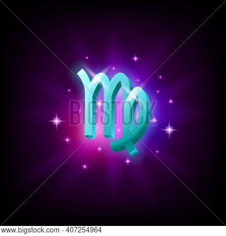 Virgo Constellation Icon In Space Style On Dark Background With Galaxy And Stars. Zodiac Sign Of Fir