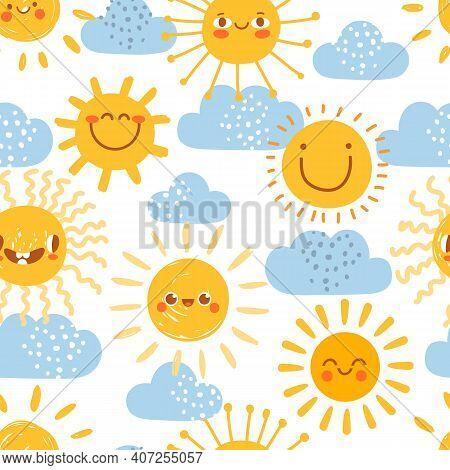Cartoon Sun Seamless Pattern. Print For Nursery With Summer Sunny Day Sky With Clouds. Cute Baby Sun