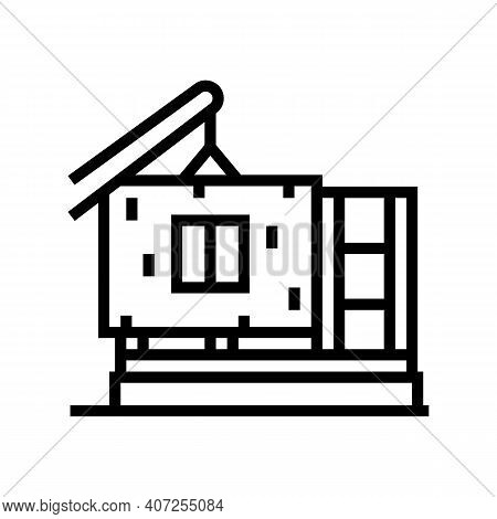 Ready Wall For Building House Line Icon Vector. Ready Wall For Building House Sign. Isolated Contour