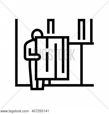 Repairman Carrying Osb Plate Line Icon Vector. Repairman Carrying Osb Plate Sign. Isolated Contour S