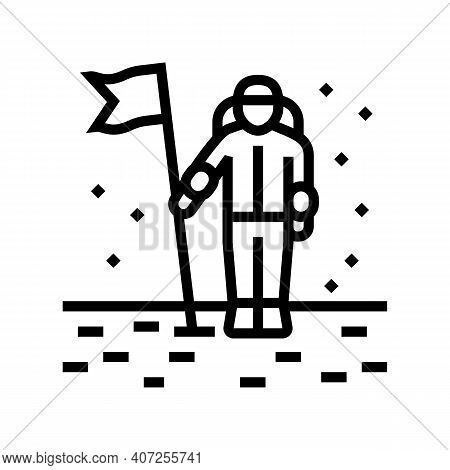 Astronaut Installing Flag On Planet Surface Line Icon Vector. Astronaut Installing Flag On Planet Su