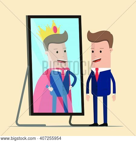 Businessman Standing In Front Of Mirror See His Successful Reflection. Vector Illustration