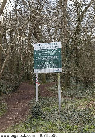 Weston-super-mare, Uk - February 8, 2021: A Sign Giving Details Of Restricted Activities In Weston W