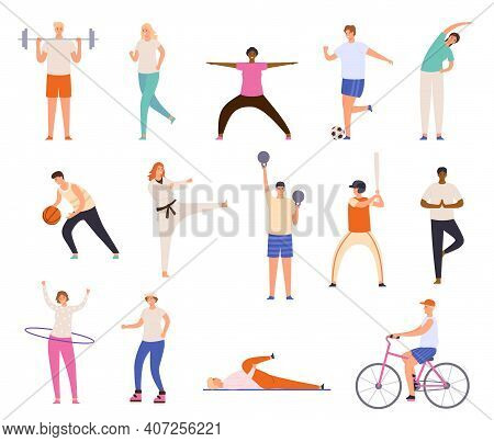 Sport People. Men And Women Exercise, Workout, Doing Yoga And Fitness, Run And Playing Basketball. H