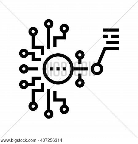 Artificial Model Neural Network Line Icon Vector. Artificial Model Neural Network Sign. Isolated Con