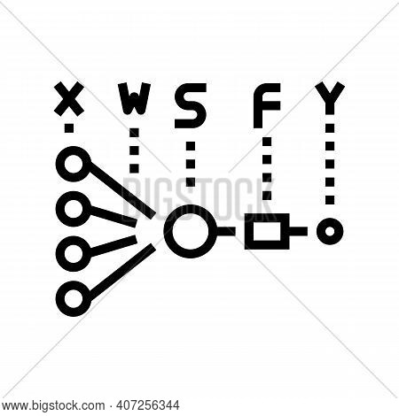 Mathematical Model Neural Network Line Icon Vector. Mathematical Model Neural Network Sign. Isolated