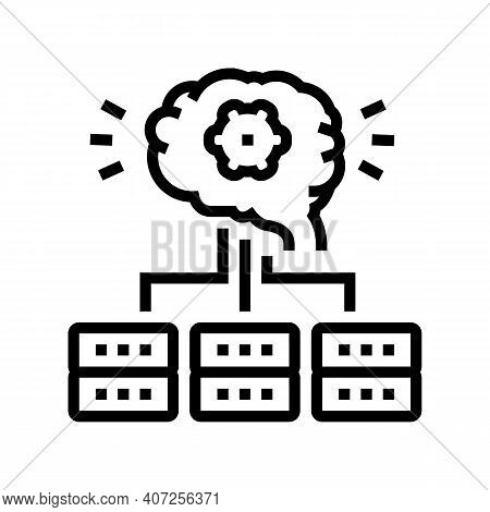 Servers Communication Neural Network Line Icon Vector. Servers Communication Neural Network Sign. Is