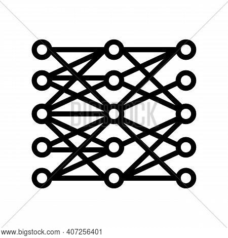 Multilayer Neural Network Line Icon Vector. Multilayer Neural Network Sign. Isolated Contour Symbol