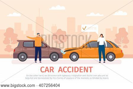 Car Crash. Auto Accident With Drivers With Phones Standing Near Vehicles And Calling For Insurance.