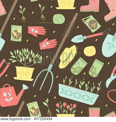 Seamless Pattern Of Garden Supplies For Planting Plants. Garden Tools, Shovels, Gloves, Watering Can