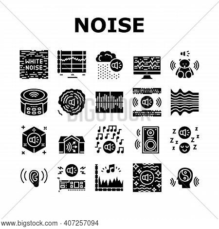 White Noise Hearing Collection Icons Set Vector. Speaker Dynamic And Audio Card, Relaxation And Musi