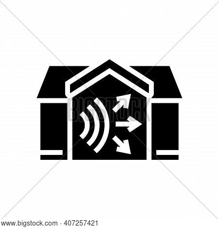 House Acoustic Glyph Icon Vector. House Acoustic Sign. Isolated Contour Symbol Black Illustration