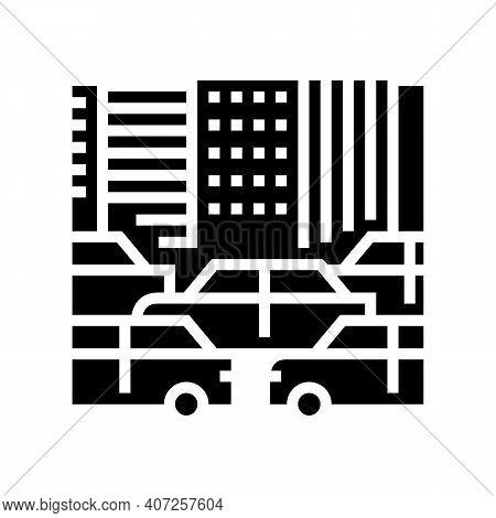 City Traffic Jam Glyph Icon Vector. City Traffic Jam Sign. Isolated Contour Symbol Black Illustratio
