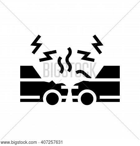 Cars Accident Glyph Icon Vector. Cars Accident Sign. Isolated Contour Symbol Black Illustration