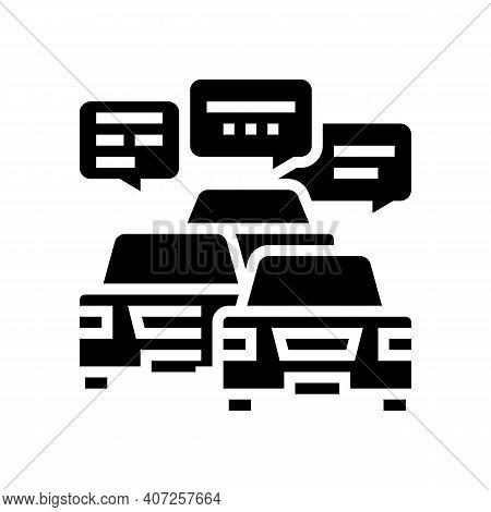 Drivers Communication In Traffic Jam Glyph Icon Vector. Drivers Communication In Traffic Jam Sign. I