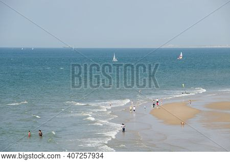 Scheveningen, Netherlands, 06.30.2012: The Famous And Largest Beach In The Netherlands. In The Past,