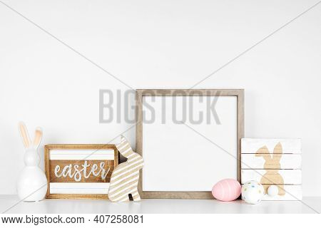 Mock Up Wood Frame With Easter Decor On A Wood Shelf. Shabby Chic Wood Signs, Eggs, Bunnies. Square