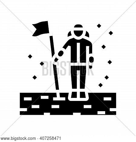 Astronaut Installing Flag On Planet Surface Glyph Icon Vector. Astronaut Installing Flag On Planet S