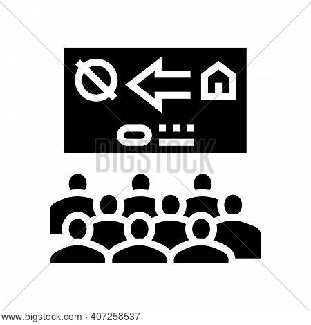 Colonization Presentation Meeting Glyph Icon Vector. Colonization Presentation Meeting Sign. Isolate