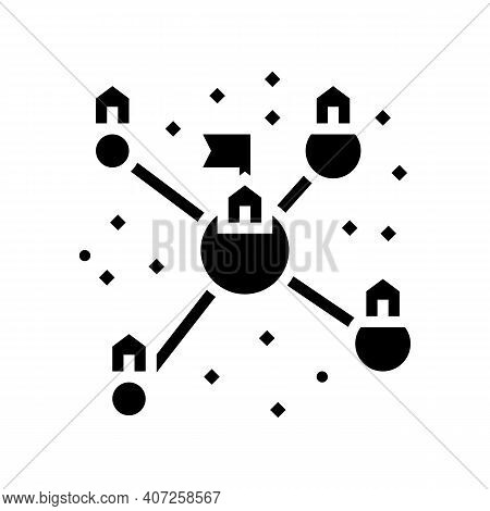 Planets Colonization And Transport Communication Glyph Icon Vector. Planets Colonization And Transpo