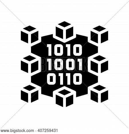 Binary Neural Network Glyph Icon Vector. Binary Neural Network Sign. Isolated Contour Symbol Black I