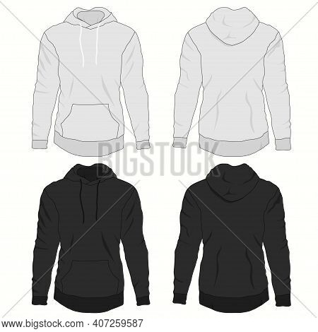 Hoody Fashion, Sweatshirt Template. Realistic Outerwear Clothes Mockup Front And Back View.