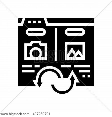 Photo, Image And Picture Converter Glyph Icon Vector. Photo, Image And Picture Converter Sign. Isola