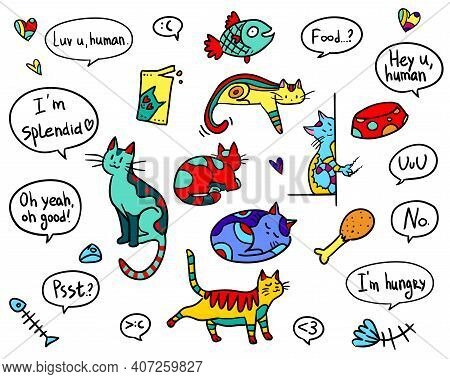 Alien Decorated Cats Are All Around! You Can Apply Them As Elements For Kids Party, For A Gift. Thes