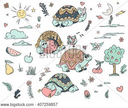Cartoony Cute Tortoise. Vector Scalable Decoration For Your Planner, Scrapbooking, For Kids Party, F