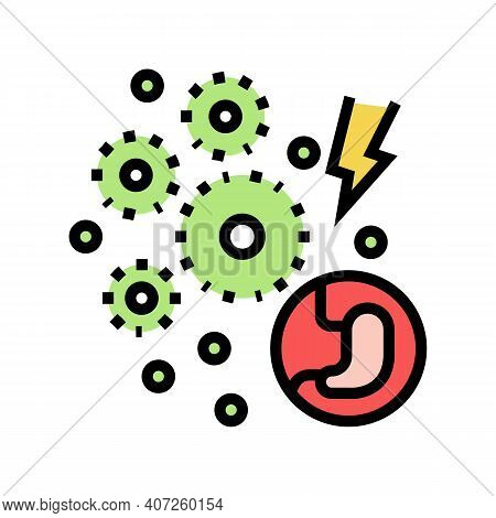 Infection Digestion System Color Icon Vector. Infection Digestion System Sign. Isolated Symbol Illus