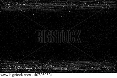Glitch Vhs Frame. Retro Rewind Effect. Old Video Play With Horizontal Lines. Video Cassette Visualiz