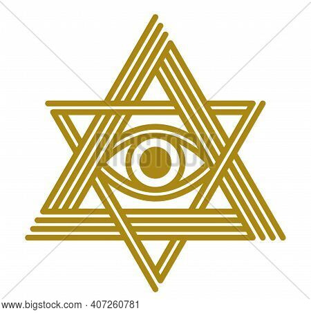 All Seeing Eye In Star Of David Vector Ancient Symbol In Modern Linear Style Isolated On White, Eye