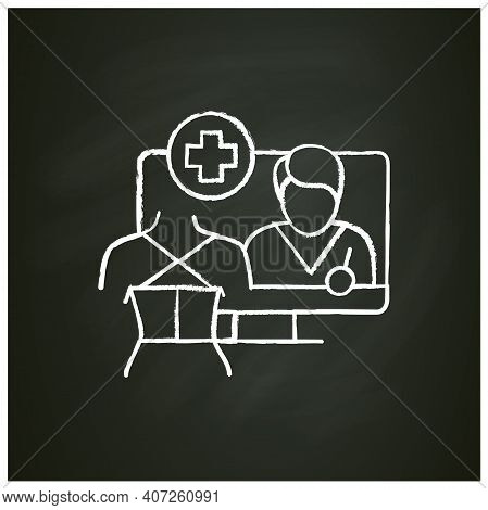 Online Trauma Care Chalk Icon. Telehealth Medical Care. Virtual Rehabilitologist Consultation. Telem