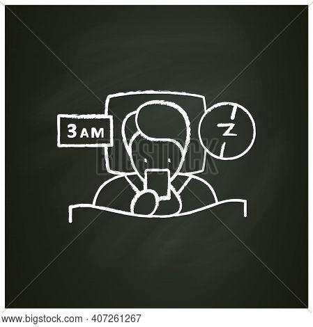Difficulty Falling Asleep Chalk Icon. Insomnia. Sleep Disorder. Healthy Sleeping Concept. Sleep Prob