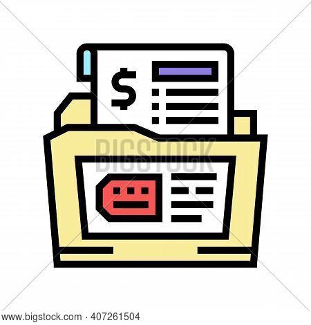 Dossier Allowance Color Icon Vector. Dossier Allowance Sign. Isolated Symbol Illustration