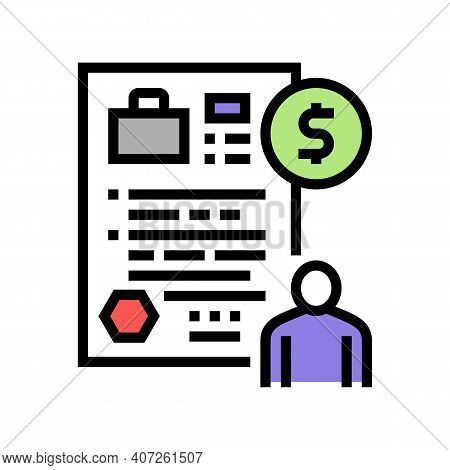 Unemployment Benefit Allowance Color Icon Vector. Unemployment Benefit Allowance Sign. Isolated Symb