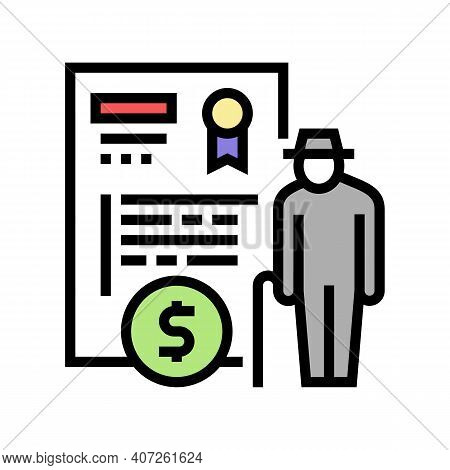 Pension Allowance Color Icon Vector. Pension Allowance Sign. Isolated Symbol Illustration