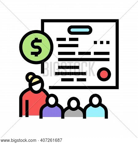 Large Family Children Allowance Color Icon Vector. Large Family Children Allowance Sign. Isolated Sy