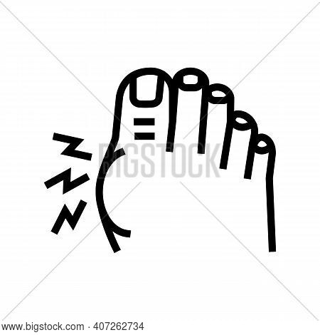 Pain In Big Toe Line Icon Vector. Pain In Big Toe Sign. Isolated Contour Symbol Black Illustration