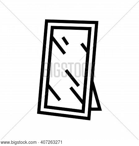 For Hallway Mirror Line Icon Vector. For Hallway Mirror Sign. Isolated Contour Symbol Black Illustra