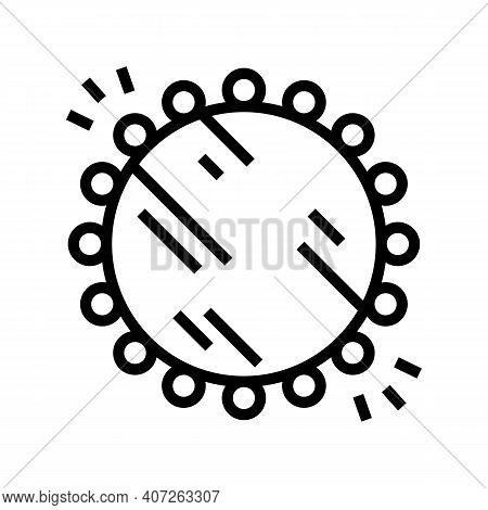 Illuminated Mirror With Lamps Line Icon Vector. Illuminated Mirror With Lamps Sign. Isolated Contour